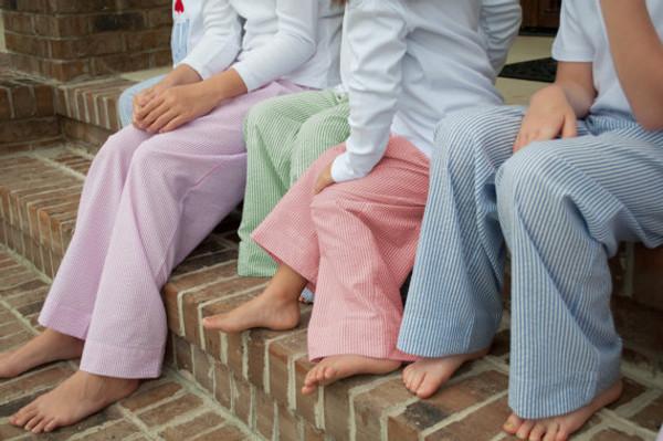 Monogrammed Youth Seersucker Lounge Pajama Pants www.tinytulip.com