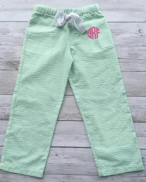 Monogrammed Youth Seersucker Lounge Pajama Pants www.tinytulip.com Lime Green Seersucker Pants with Preppy Pink Circle Font