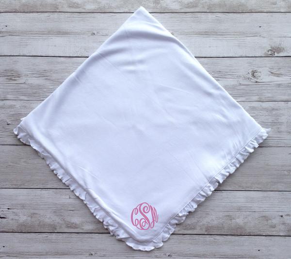 Monogrammed Ruffle Blanket www.tinytulip.com Light Pink Master Script Font