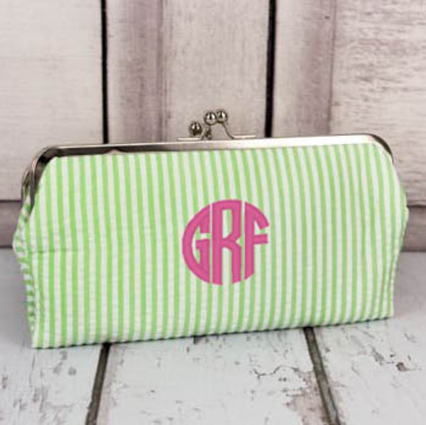 Monogrammed Seersucker Wallet www.tinytulip.com Lime Green Wallet with Preppy Pink Circle Font