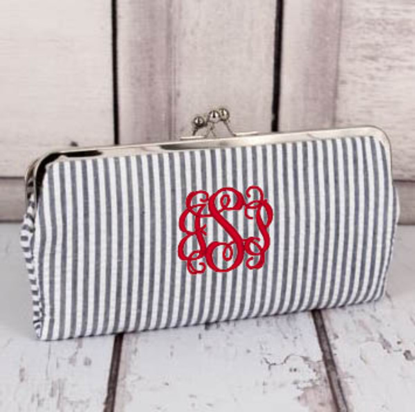 Monogrammed Seersucker Wallet www.tinytulip.com Navy Wallet with Red Interlocking Font
