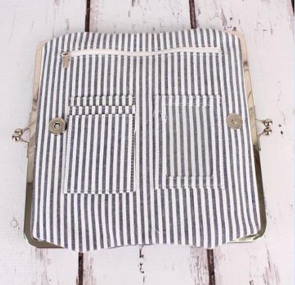 Monogrammed Seersucker Wallet www.tinytulip.com