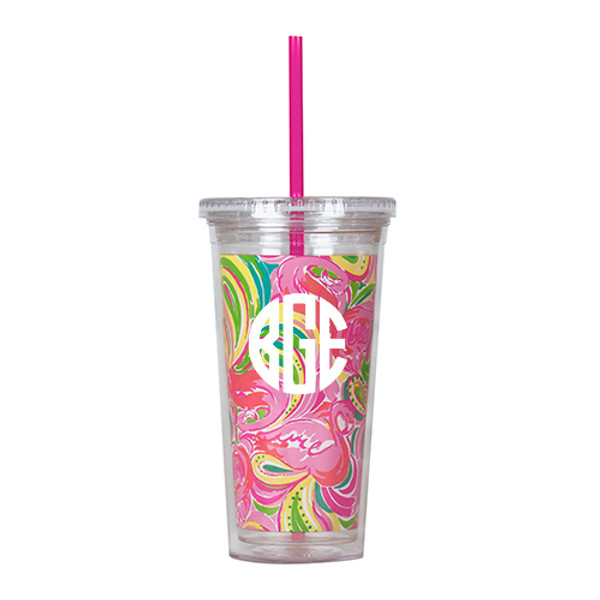 Monogrammed Lilly Pulitzer Acrylic Tumbler with All Nighter www.tinytulip.com White Circle font