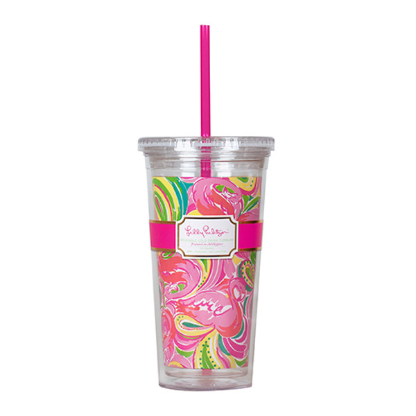 Monogrammed Lilly Pulitzer Acrylic Tumbler with Straw Cute As Shell www.tinytulip.com