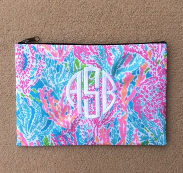 Lilly Pulitzer Monogrammed Pencil Case Let's Cha Cha White Circle Font