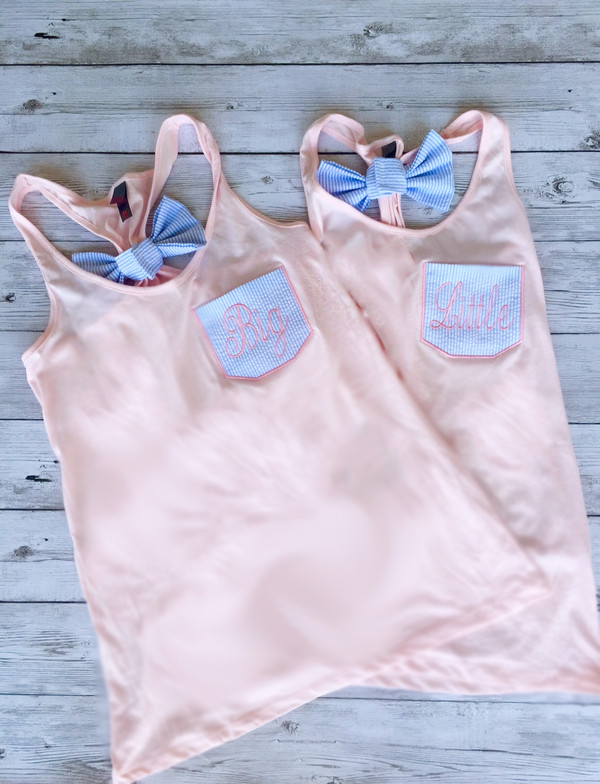 Monogrammed Sorority  Seersucker Pocket Bow Racerback Tank  www.tinytulip.com Light Pink with Navy Seersucker and Light Pink Thread