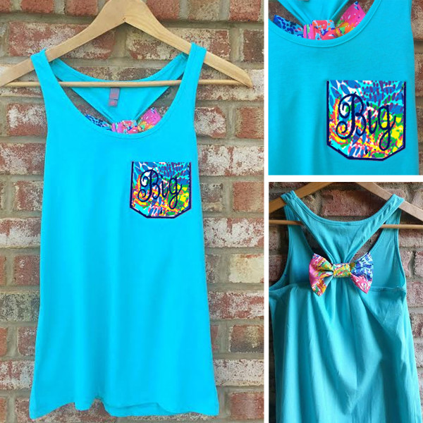 Monogrammed Sorority Lilly Pulitzer Pocket Bow Racerback Tank www.tinytulip.com