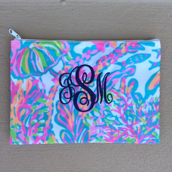 Lilly Pulitzer Monogrammed Pencil Case Scuba to Cuba