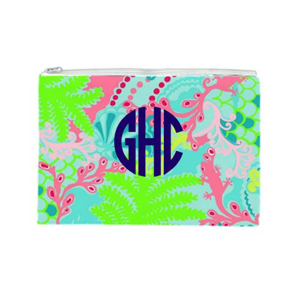 Lilly Pulitzer Monogrammed Pencil Cosmetic Case Checking In Blue
