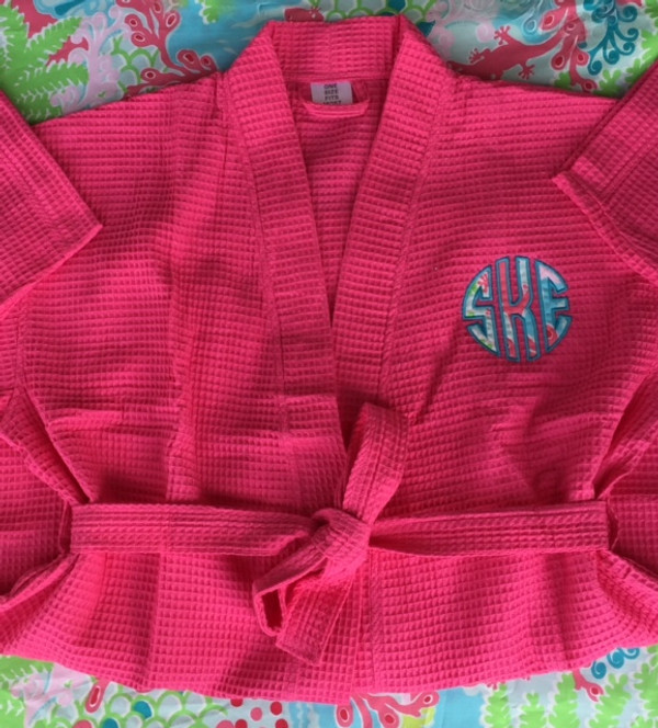 Monogrammed Lilly Pulitzer Applique Waffle Weave Robe www.tinytulip.com Checking In Blue with Turquoise thread