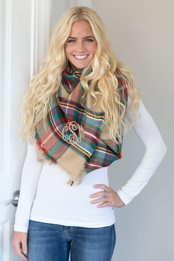 Monogrammed Blanket Scarf www.tinytulip.com Tan Plaid Scarf with Tan Master Script Font