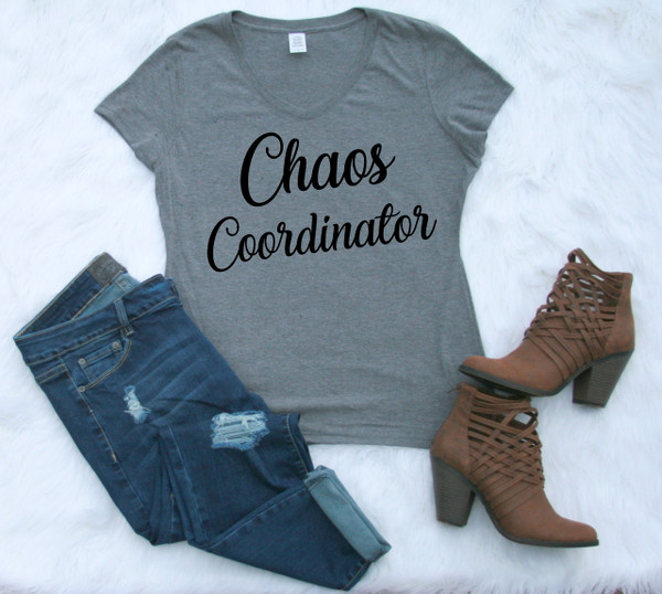 Ladies V-neck Gray Graphic Tee Chaos Coordinator www.tinytulip.com