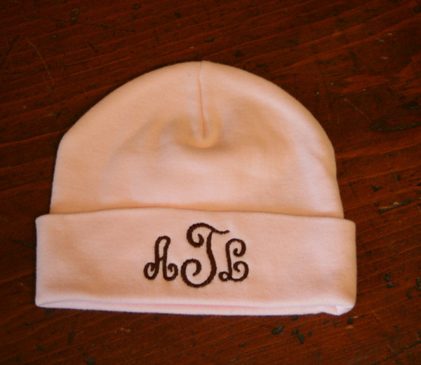 Pink Cap with Brown Swirly Monogram