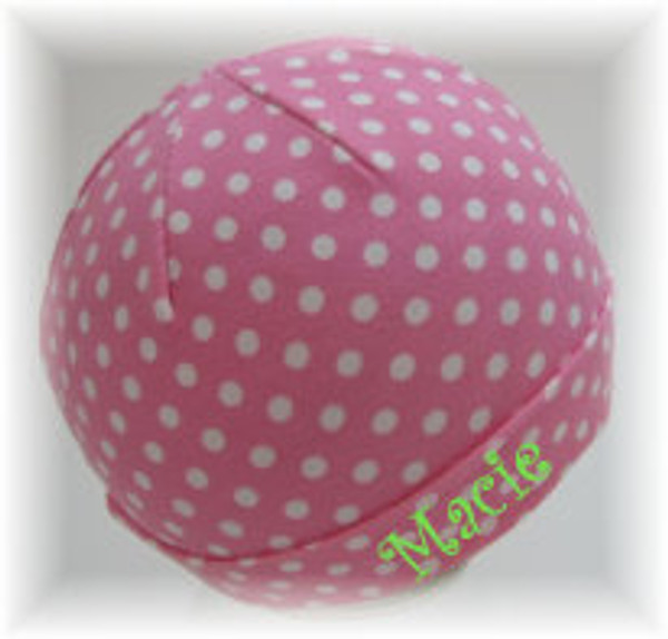 Pink & White Polka Dot Beanie Cap with Lime Green Curly Font