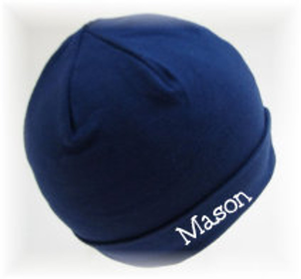 Navy Infant Beanie Cap with White 5th Grader Font