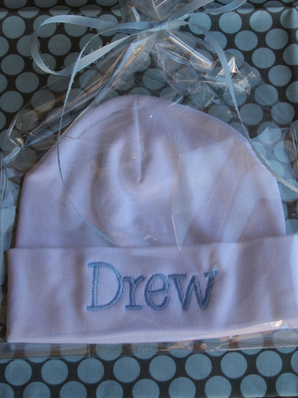 White Hat with Baby Blue Font