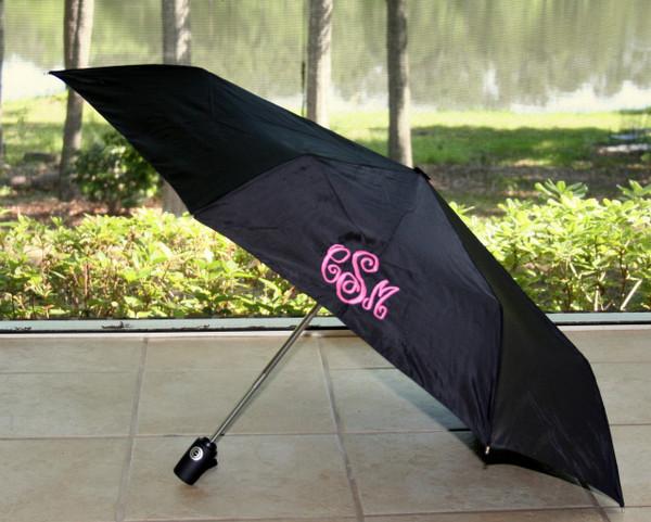 Black Umbrella with Hot Pink Abigail Monogram