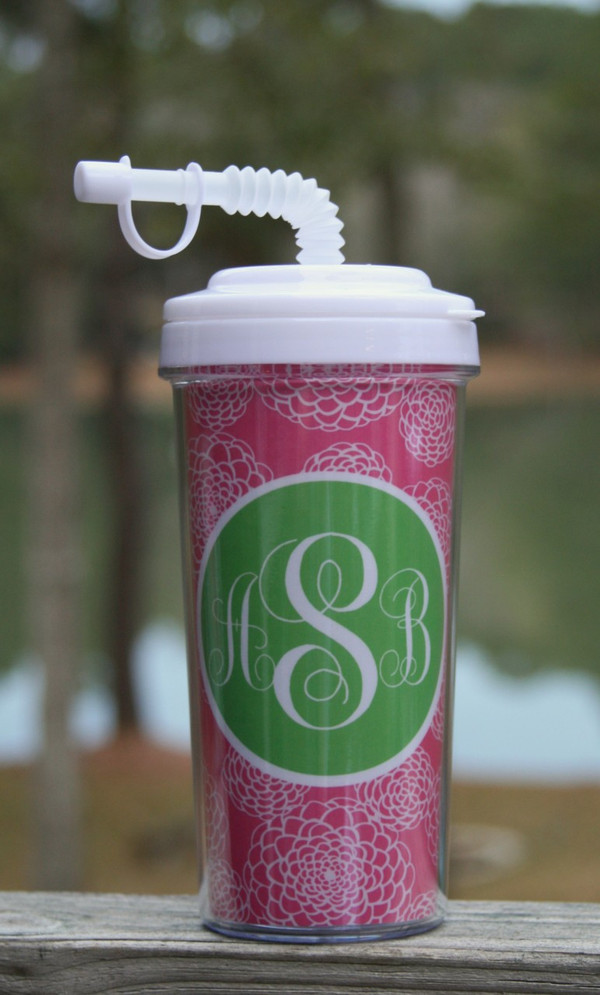 Monogrammed Insulated Tall Tumbler Straw Cup   www.tinytulip.com Lilly Pink Zinnia Pattern with Solid Circle Lime Green Emma Script Font