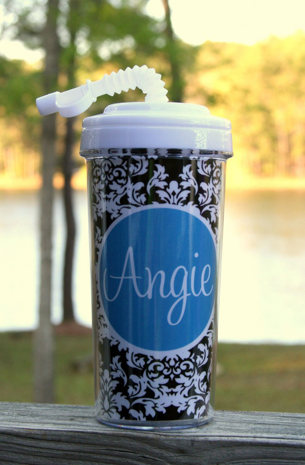 Monogrammed Insulated Tall Tumbler Straw Cup   www.tinytulip.com Black Damask Pattern with Solid Circle Turquoise Cursive Font