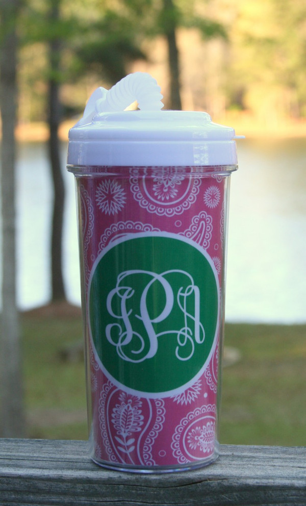 Monogrammed Insulated Tall Tumbler Straw Cup   www.tinytulip.com Lilly Pink Paisley Pattern with Solid Circle Kelly Green Interlockin Font