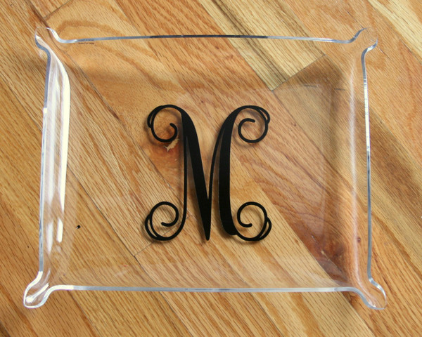 Monogrammed Elegant Tray  www.tinytulip.com Black Interlocking Font