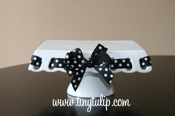 Prissy Plate Round Square Platter ~ Chip & Dip Platter Black with White Polka Dot Ribbon