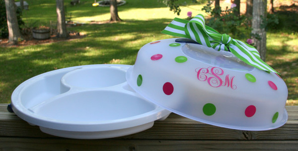 Monogrammed Snack Carrier  www.tinytulip.com Hot Pink Emma Font with Lime Green Second Polka Dot Color