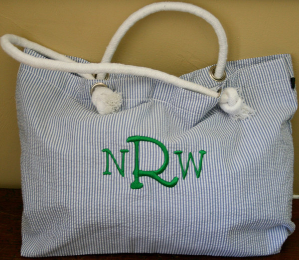 Navy Seersucker Tote ~ Tiny Tulip Monogramming  Kelly Green 5th Grader Font