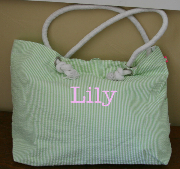 Lime Green Seersucker Tote ~ Tiny Tulip Monogramming  Pink Typewriter Font