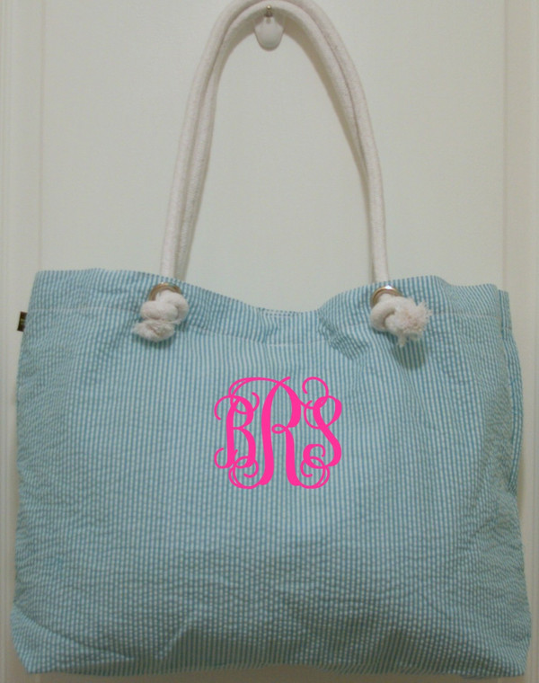 Aqua Seersucker Tote ~ Tiny Tulip Monogramming  Hot Pink Interlocking Font