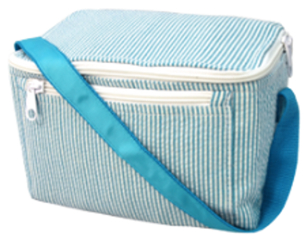 Seersucker Lunchbox ~ Tiny Tulip Monogramming Turquoise Seersucker