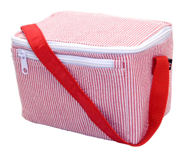 Seersucker Lunchbox ~ Tiny Tulip Monogramming Red Seersucker