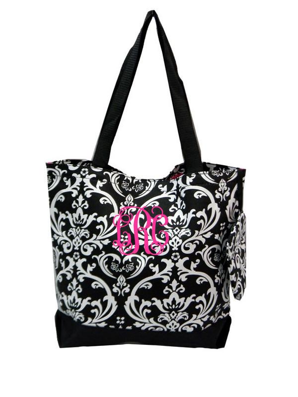 Black Damask Bag with Hot Pink Interlocking Font