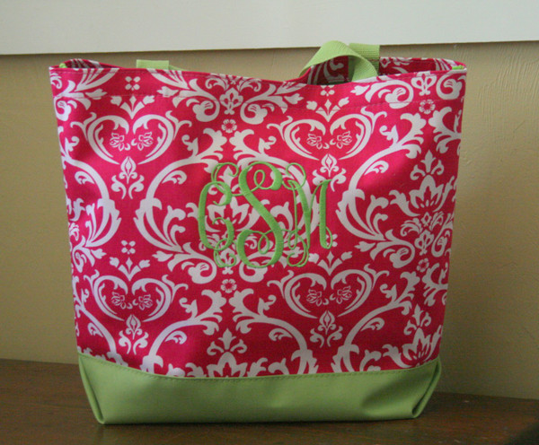 Hot Pink Damask Bag with Lime Green Interlocking Font