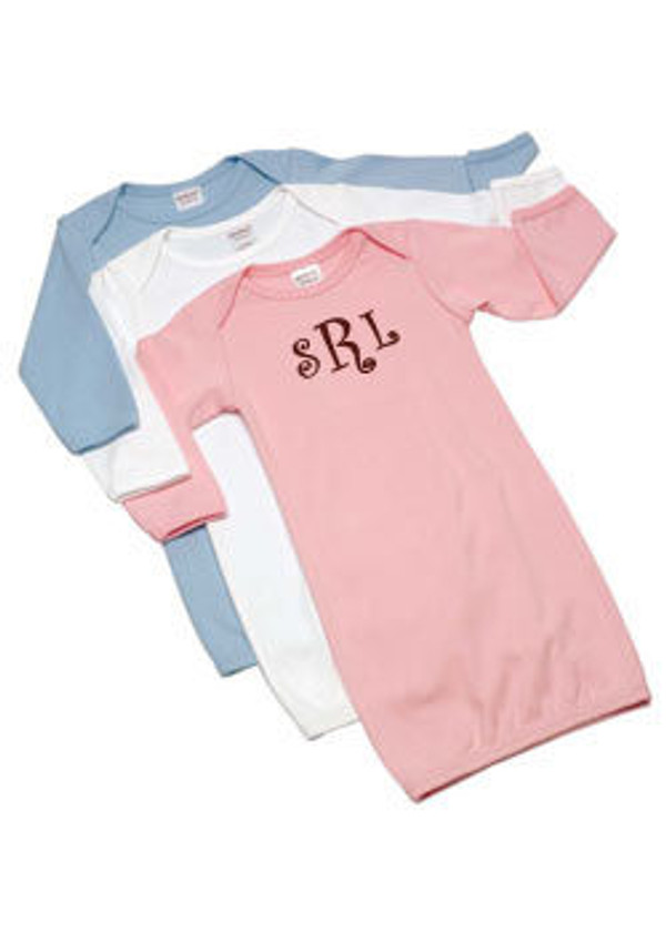 Monogrammed Cotton Interlock Baby Gown - tinytulip.com
