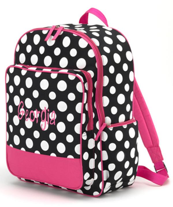 Polka Dot & Flower Backpacks Black & White Polka Dot Backpack