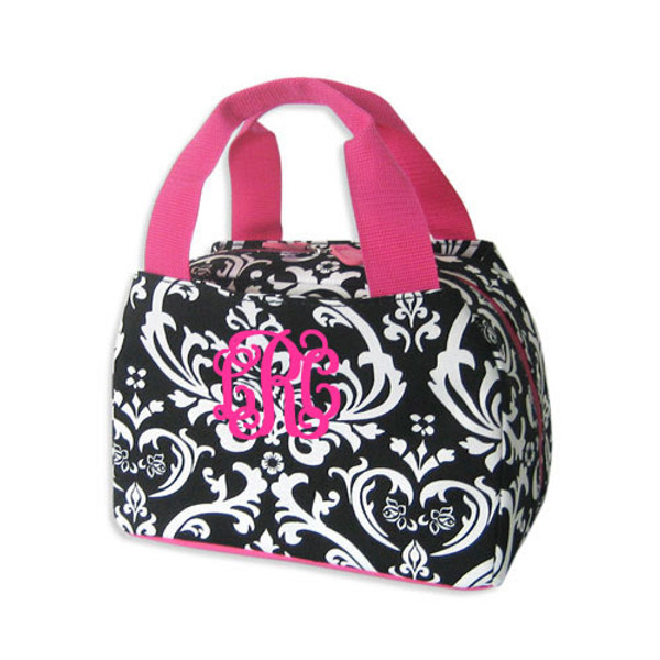 Damask Lunch Tote - www.tinytulip.com Hot Pink Interlocking Monogram