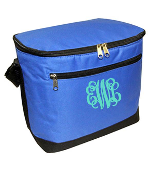 Blue Cooler with Mint Interlocking Font