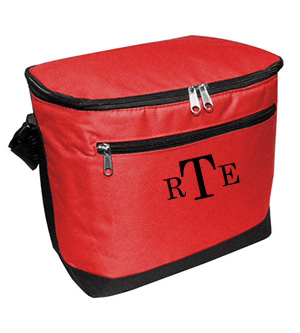 Red Cooler with Black Classic Block Font