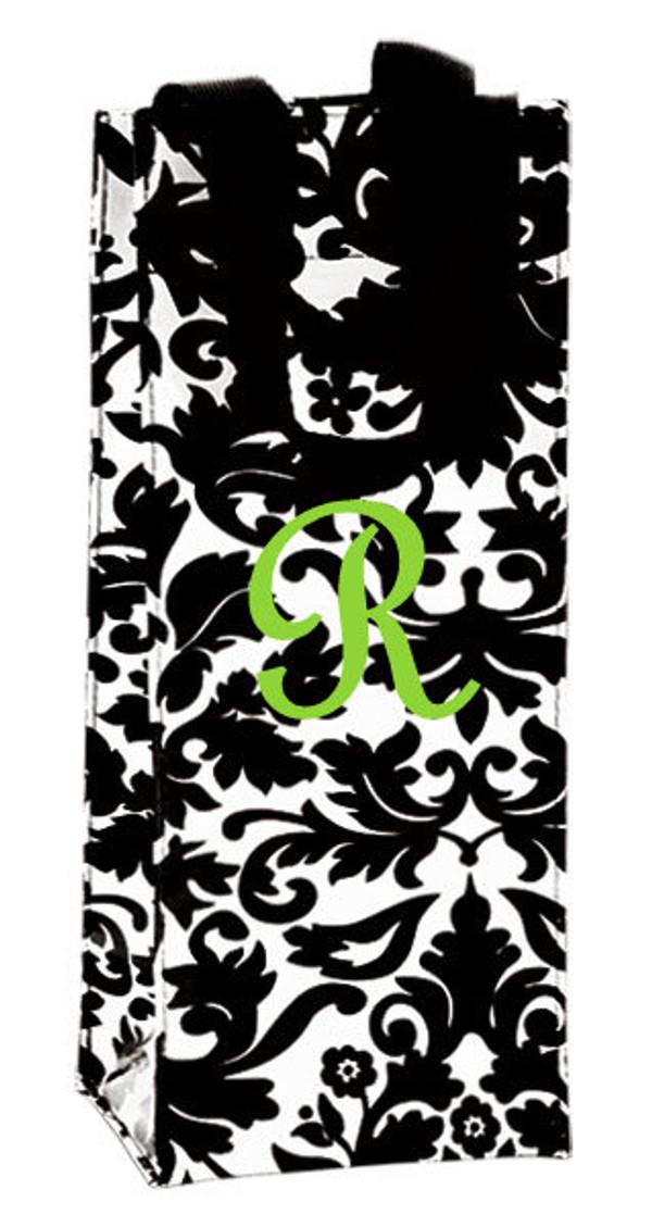 Monogrammed Wine Bottle Bag  - www.tinytulip.com Lime Green French Script Font