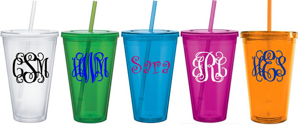 24 oz. *Large* Monogrammed Insulated Acrylic Straw Cup Tumbler - www.tinytulip.com