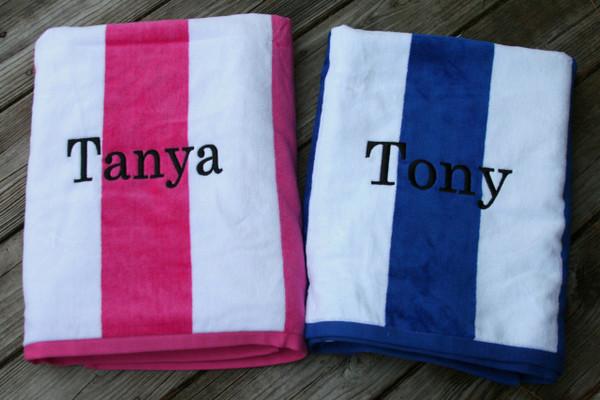 Monogrammed Cabana Stripe Terry Velour Towel   www.tinytulip.com