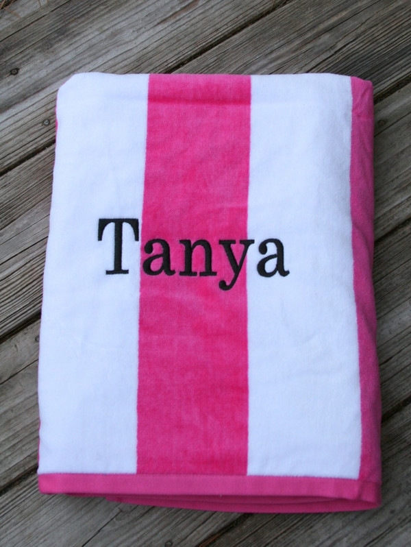 Monogrammed Cabana Stripe Terry Velour Towel   www.tinytulip.com Hot Pink Towel with Romana Black Font