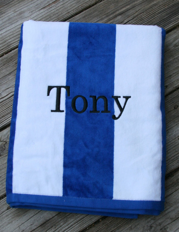 Monogrammed Cabana Stripe Terry Velour Towel   www.tinytulip.com Royal Blue Towel with Romana Black Font