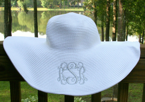 Monogrammed Floppy Wide Sun Hat ~ Summer ~ Beach ~ Derby www.tinytulip.com White Hat with Silver Interlocking Monogram