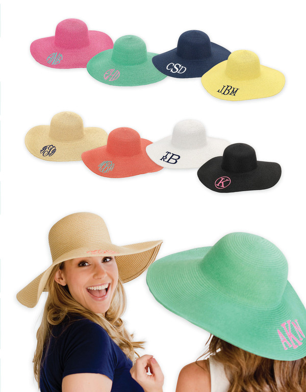 Monogrammed Floppy Wide Sun Hat ~ Summer ~ Beach ~ Derby www.tinytulip.com