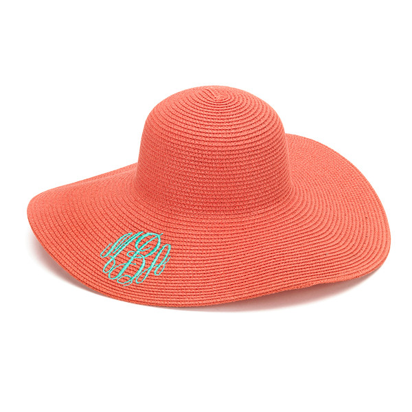 Monogrammed Floppy Wide Sun Hat ~ Summer ~ Beach ~ Derby www.tinytulip.com Coral Hat with Mint Master Script Monogram