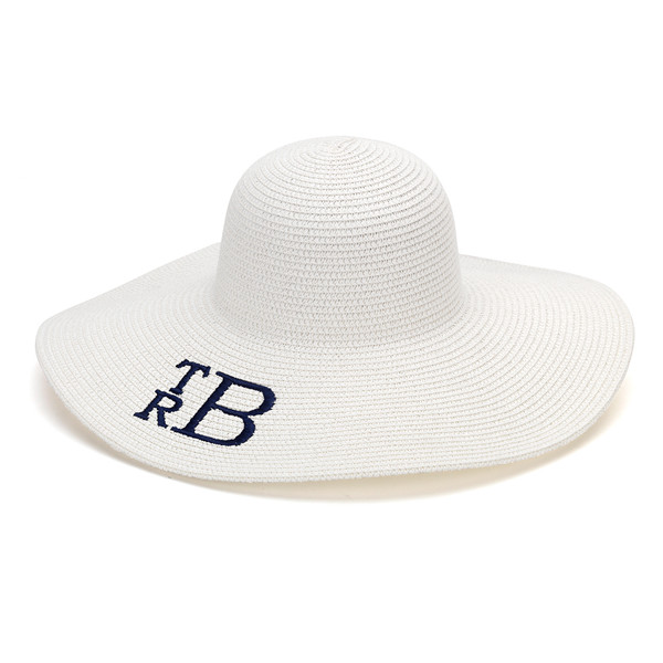 Monogrammed Floppy Wide Sun Hat ~ Summer ~ Beach ~ Derby www.tinytulip.com Whitel Hat with Navy Stacked Block Monogram