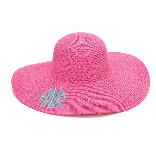 Monogrammed Floppy Wide Sun Hat ~ Summer ~ Beach ~ Derby www.tinytulip.com Hot Pink Hat with Mint Circle Monogram