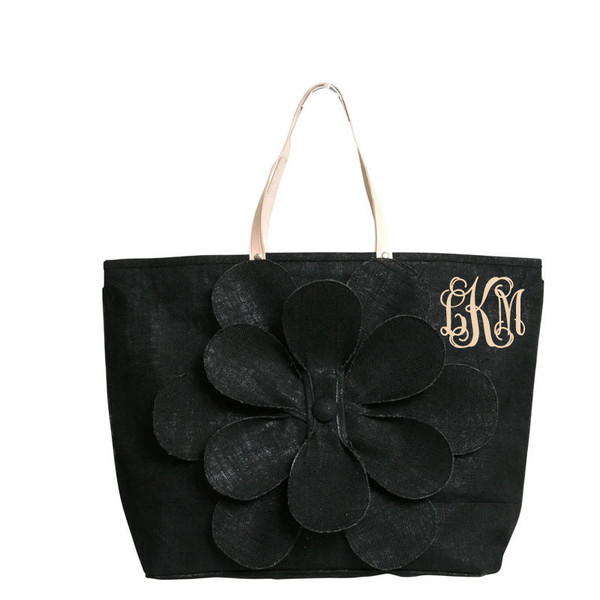 Monogrammed Large Jute Flower Tote www.tinytulip.com Black with Khaki Interlocking Monogram